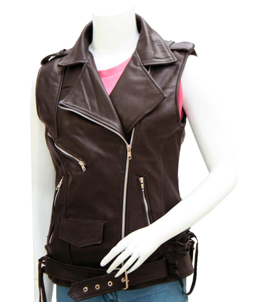 Ladies Black Leather Biker Vest