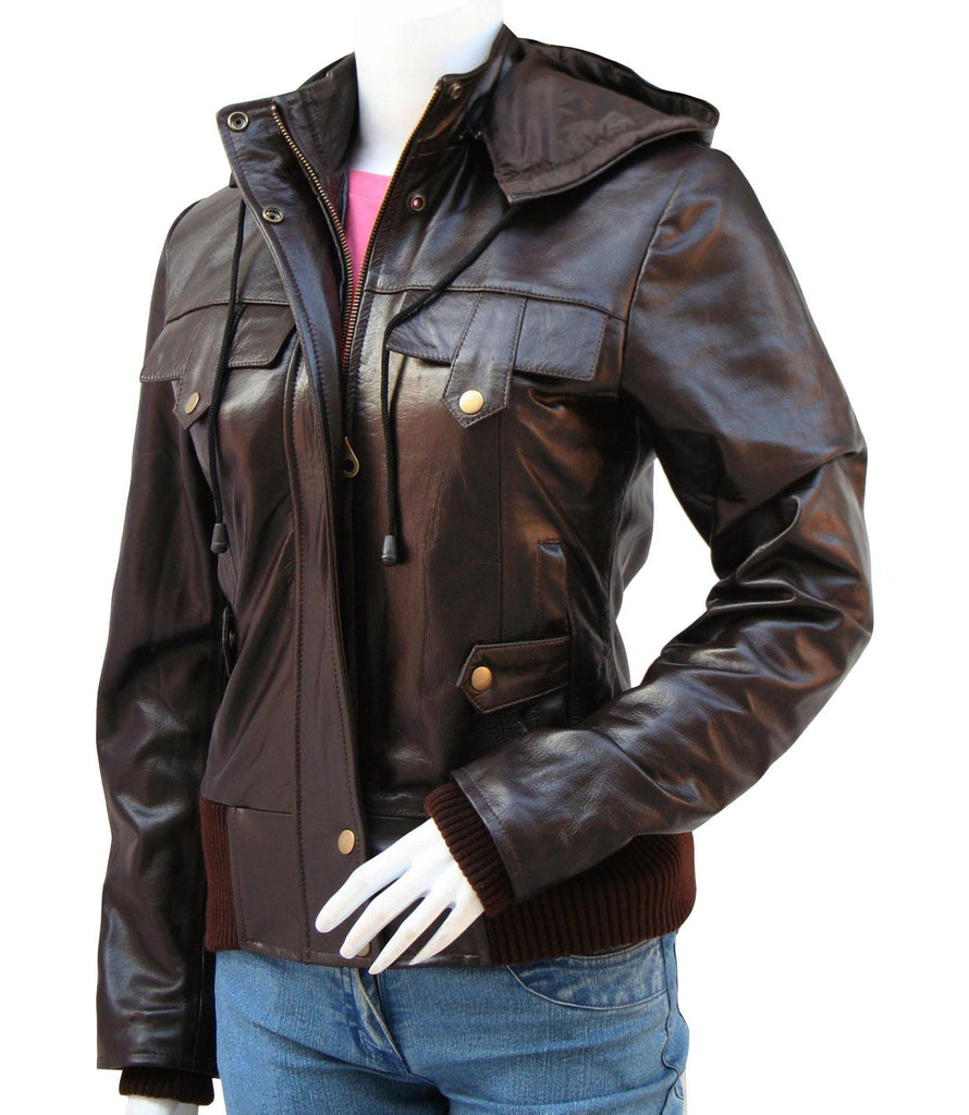 Ladies Leather Jacket with Hood