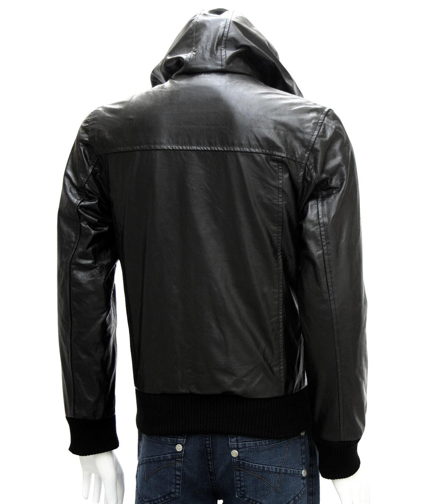 Leather Jacket with Hood for Men