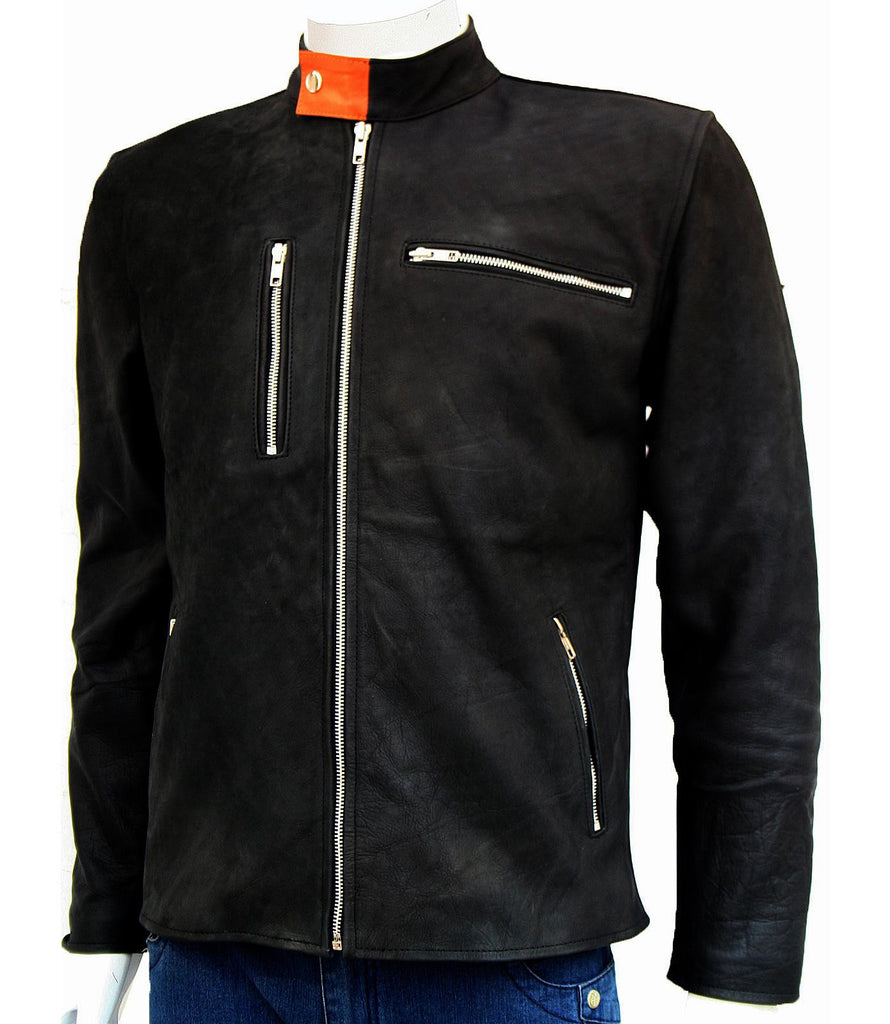 Men Black Vintage Leather Jacket