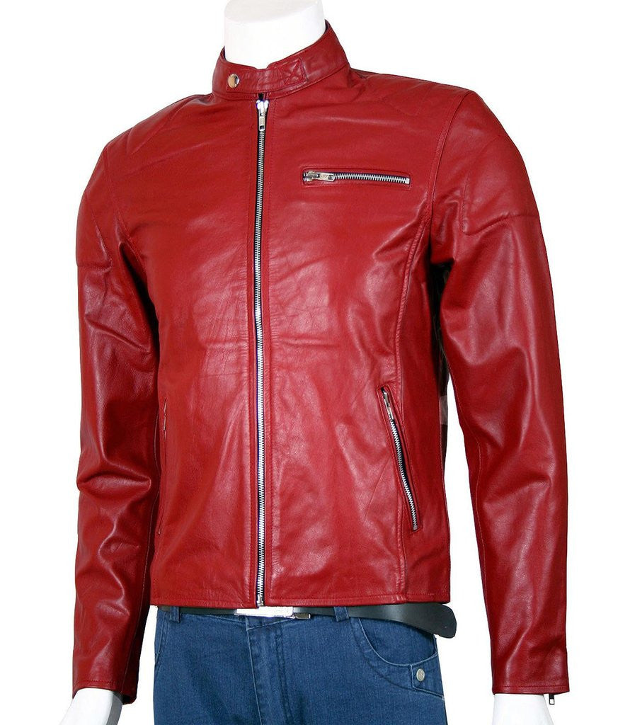 Men's Red Leather Moto Jacket
