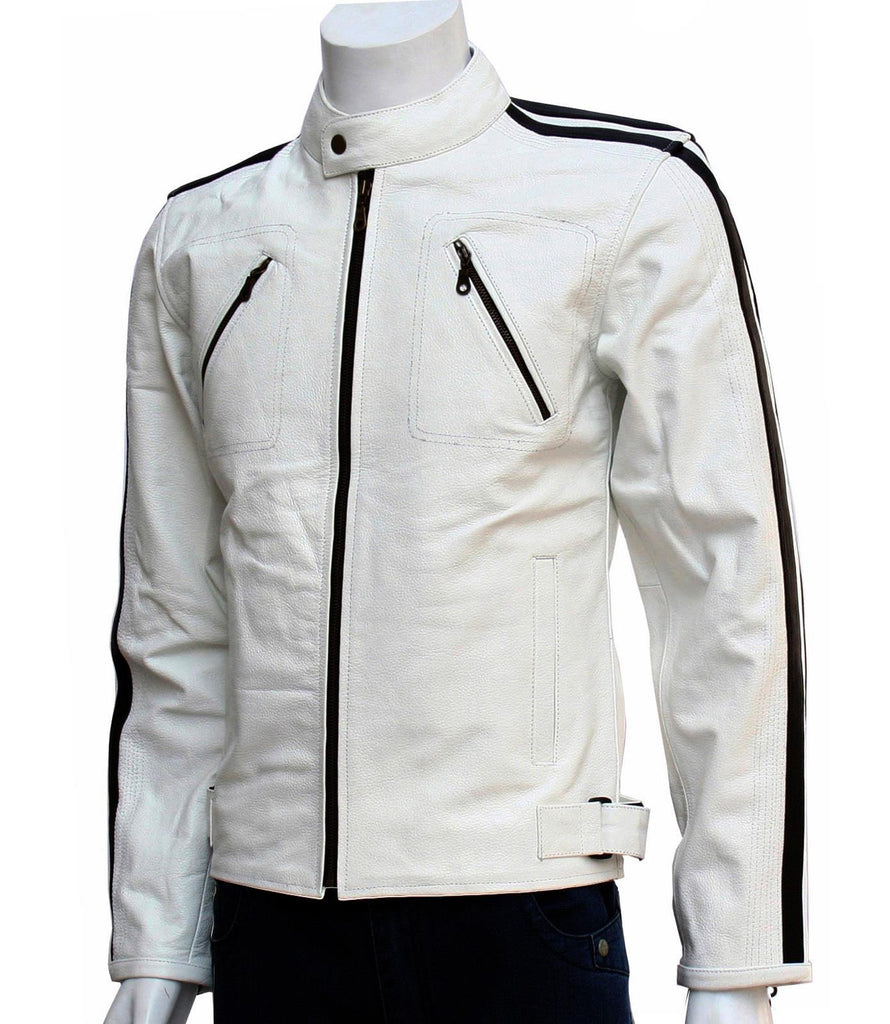 Men's White Leather Racer Jacket