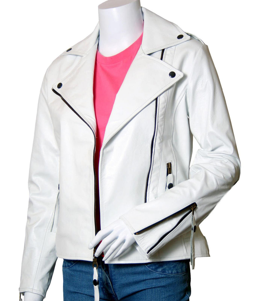 White Leather Ladies Biker Jacket