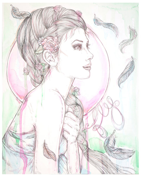fly watercolor beautiful girl illustration art