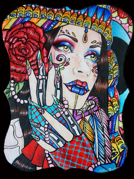 gypsy woman illustration colorful tattoo art inspired art