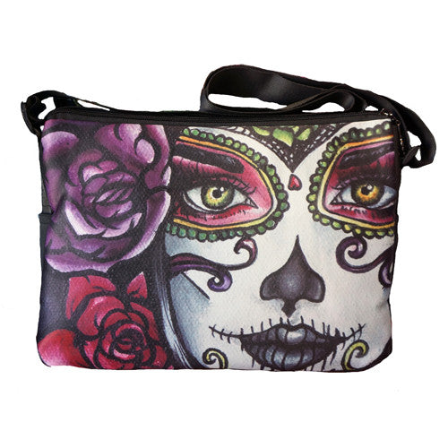 Carolina- Dia de los muertos girl crossbody messenger bag