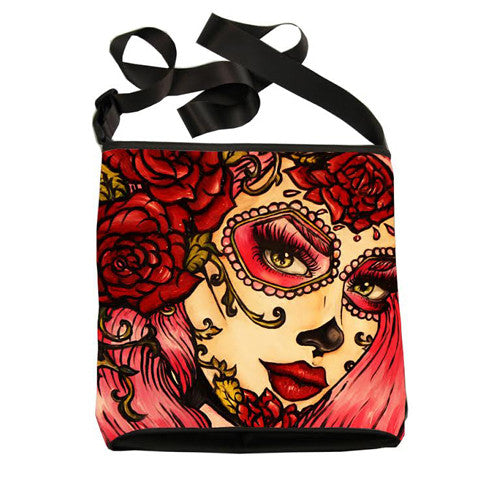Red roses- Crossbody messenger bag day of the dead roses pink hair