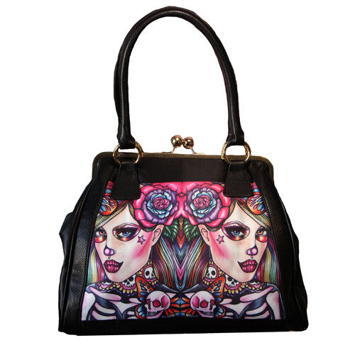 Skullerflies - Leather handbag purse with bright rainbow skeleton woman art