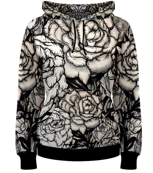 Upon Waking- Womens Hoodie Pullover Black And White Tattoo Roses Floral Hippie BOHO