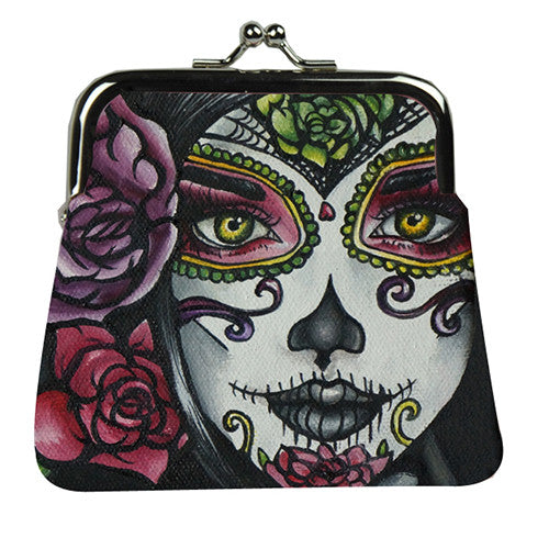 Carolina- Day of the dead woman tattoo art coin purse