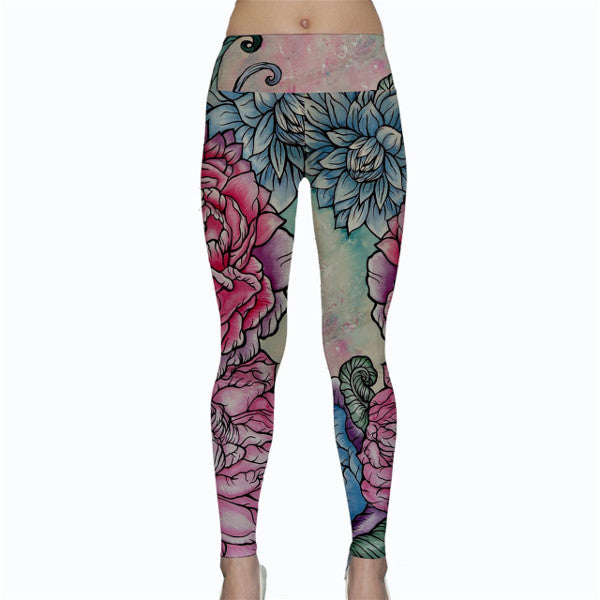 Pastel Floral Yoga Leggings S- 3XL