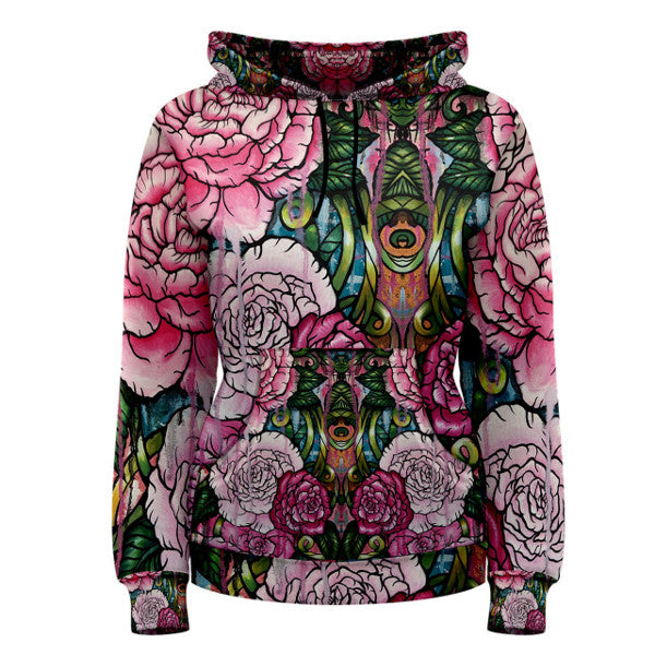 Downstream - Womens Pullover Hoodie S- 3XL Plus Size Floral All over print