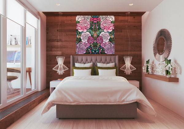 pink floral mirrored print symmetrical art