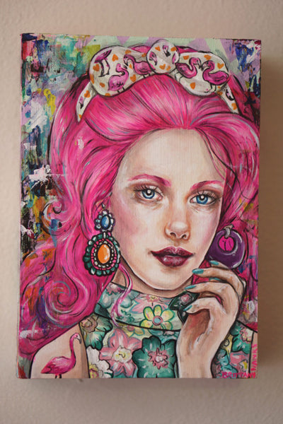retro barbie inspired flamingo pink painting portrait