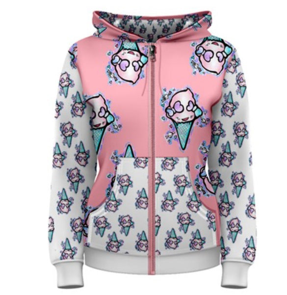 Ice Cream Creeper- Womens Zip Up Hoodie Kawaii Cute Harajuku Pastel Goth