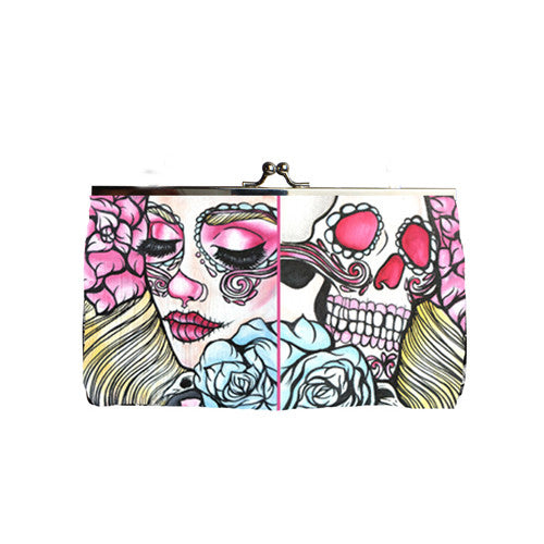 Life and Death Multi Colored Sugar Skull Tattoo Art Clutch Purse Bag
