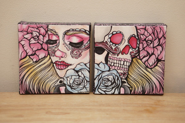 Life And Death Original Art Small Paintings Tattoo Day of the dead inspired