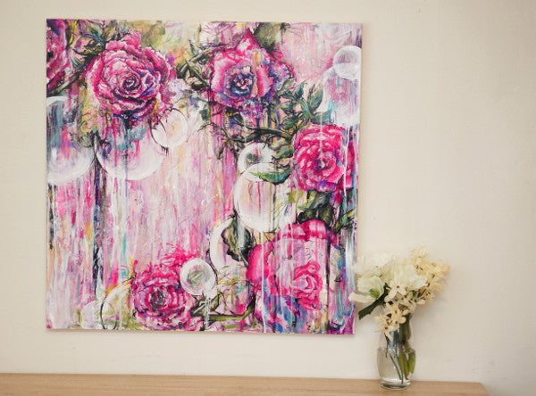 Orbs-  24x24 Large Floral Abstract Original Acrylic Painting in Pinks, Modern Contemporary Art by Brittany Hanks Living Room Bedroom Office Art