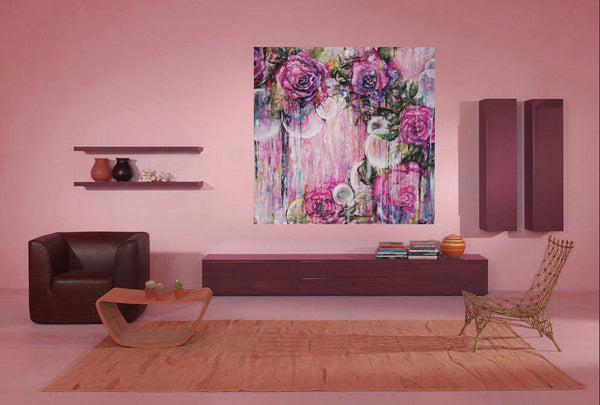 Pink tones contemporary abstract floral art