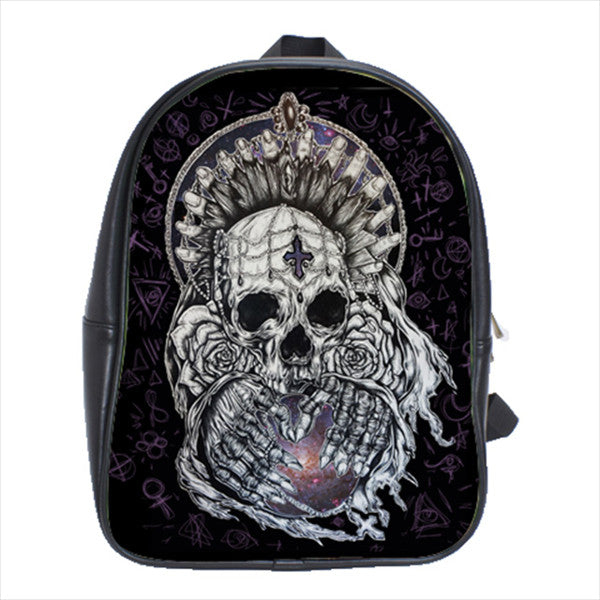 Relic Leather Backpack / School Bag Skeleton Punk Metal Occult Witchcraft Print