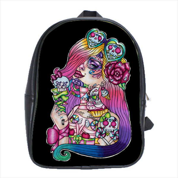 Lowbrow art leather and polyester backpack with bright tattoo skeleton girl and candy