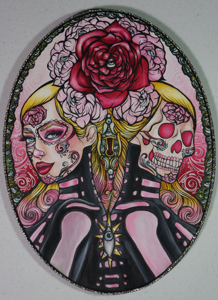 Day of the dead woman and sugar skull tattoo art painting