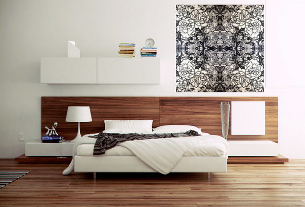 Black and white symmetrical contemporary art print canvas