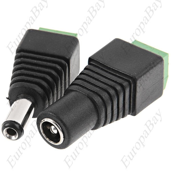 2.1 x 5.5mm Female & Male DC Power Jack Adapter Plug Connector, Power Connectors, EuropaBay Limited