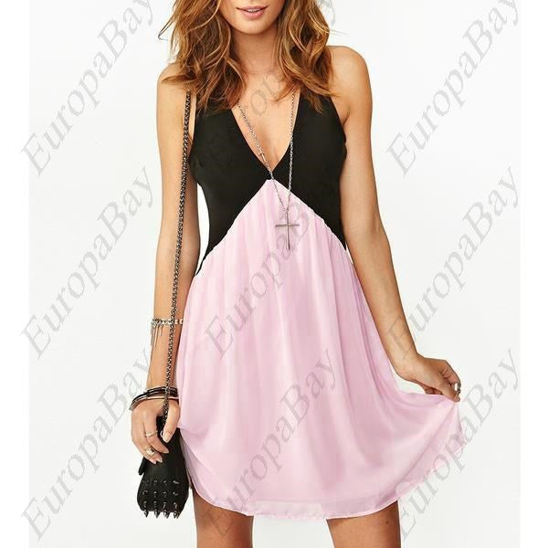 Patchwork Chiffon Casual Sleeveless Deep V-neck Knee-Length Sexy Backless Dress, Dress, EuropaBay Limited