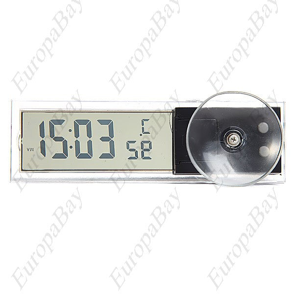 Digital LCD Clock & Thermometer with Suction Cup for Auto Car + Eligible for Free Worldwide Shipping - EuropaBay - 1