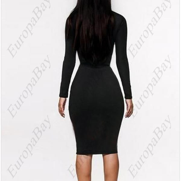 Evening Party Elastic Chinlon Purity Sexy Bodycon Knee-Length Long Sleeve Dress, Clubwear for Woman, Girl, Lady + Free Worldwide Shipping - EuropaBay - 1