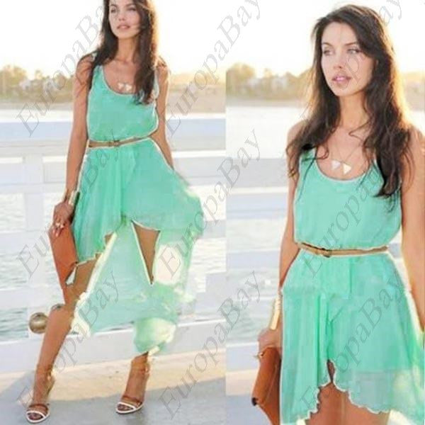 Casual Chiffon Purit, Exotic Bohemian Style Elegant Summer Crewneck Mini Sleeveless Dresses, Dress, EuropaBay Limited