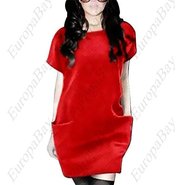 Spring or autumn Casual Purity Crewneck Mini Short Sleeve Dress, Dress, EuropaBay Limited