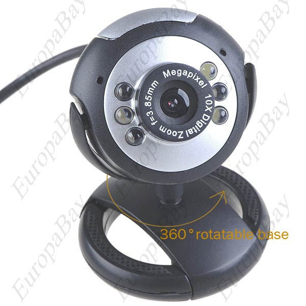 300KP 6-LED USB 2.0 Webcam Web Digital Camera & Microphone for Computer PC & Notebook Driver, Webcam, EuropaBay Limited
