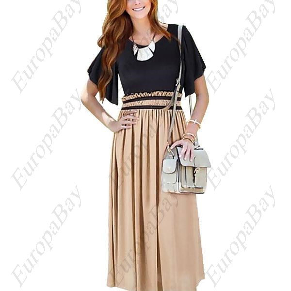 Casual Patchwork Elegant Tunic Maxi Mid Sleeve Dress, Dress, EuropaBay Limited