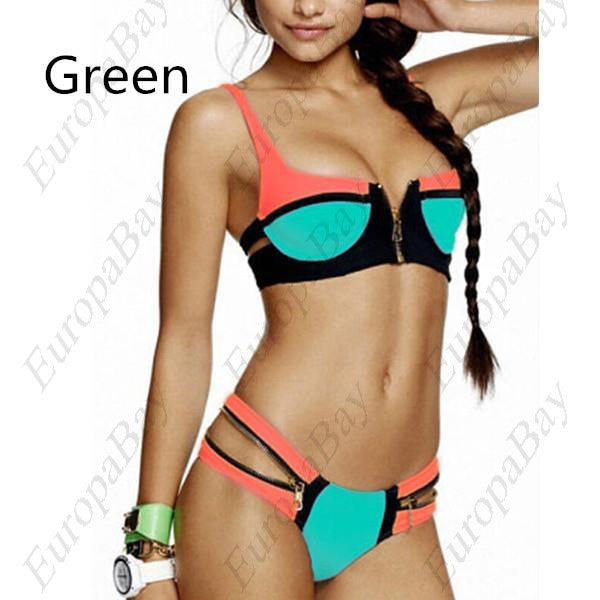 Summer Sports, Outdoor Zipper Patchwork Sexy Bikini, Swimwear, EuropaBay Limited