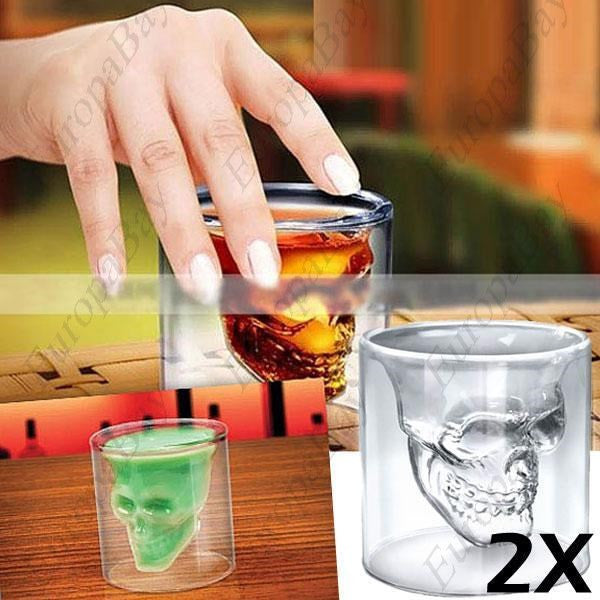 2 x Cool Crystal Skull Glass for Home, Bar, Spooky Crystal Skull Shot Glass, EuropaBay Limited