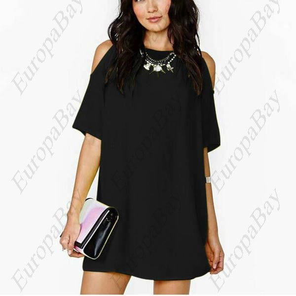 Summer Casual Purity Retro Style Crew Neck Easy Chiffon Strapless Short Sleeve Dress, Dress, EuropaBay Limited