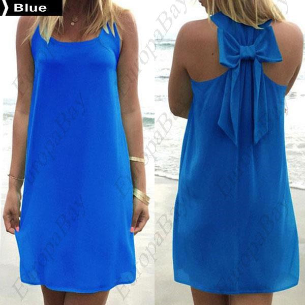 Summer Casual Purity Bowknot Tank Crew Neck Sleeveless Dress, Dress, EuropaBay Limited