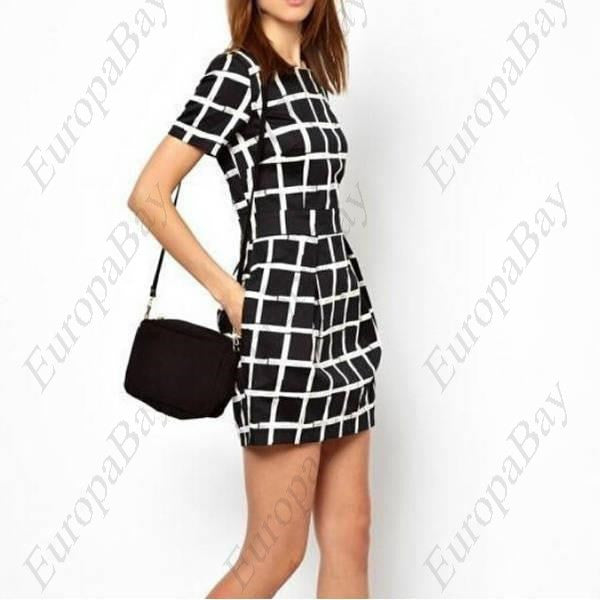 Summer Casual Crew Neck Patchwork Plaids & Checks Color Blocking Tunic, Knee-Length Short Sleeve Dress + Eligible for Free Worldwide Shipping - EuropaBay - 1