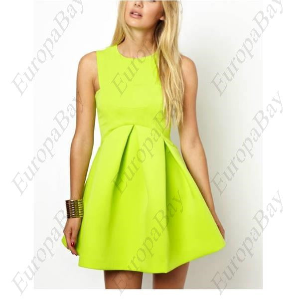 Summer Casual Purity Fit Flare Crew Neck Mini Sleeveless Dress, Dress, EuropaBay Limited