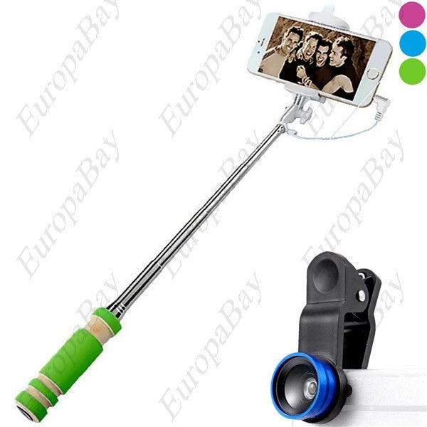 Remote Control Selfie Monopod + 3 in 1 Fisheye Macro and Wide Angle Camera Lens, Selfie Stick Bundle, EuropaBay Limited