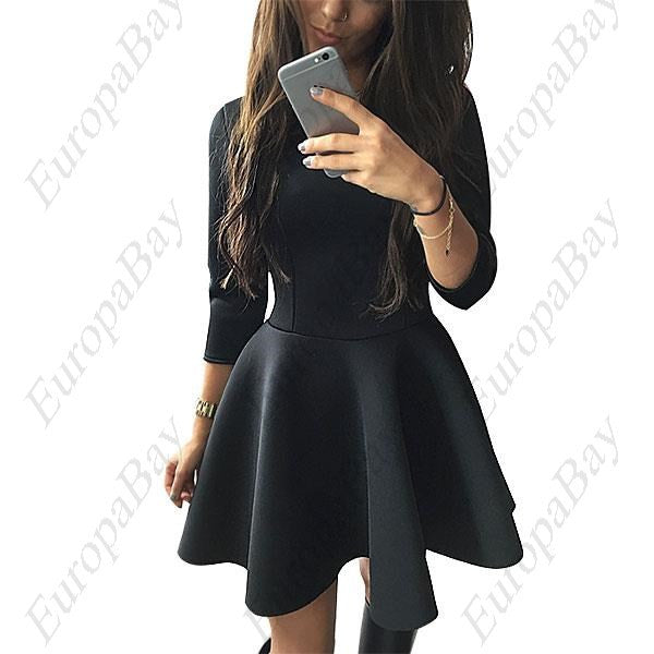 Women 3/4 Sleeve Skirt Dress, Evening Party Space Cotton Big Swing Dress, Dress, EuropaBay Limited