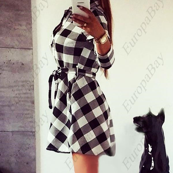 Women's Plaid Romper Skirt 3/4 Sleeve Dress, Ladies Party Mini Shirt Dress, Dress, EuropaBay Limited