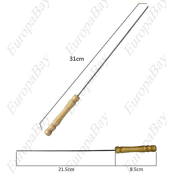 30Pcs Stainless Steel Barbecue Skewer with Wooden Stick, Roasting Needle, EuropaBay Limited