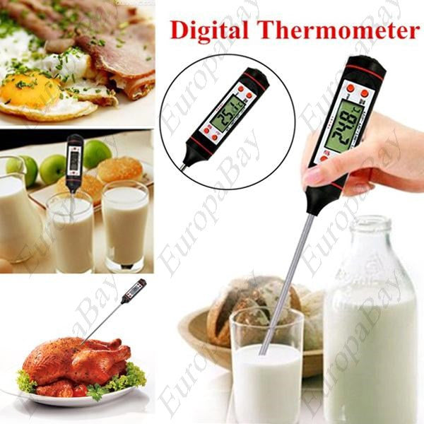 Digital Probe Cooking Thermometer, Temperature Sensor For BBQ Kitchen with LCD Display, Thermometer, EuropaBay Limited