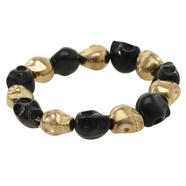 Ladies Black & Gold Skull Theme Bracelet, Elastic, Luxury Item, Sealed, New + Eligible For Free Worldwide Shipping - EuropaBay