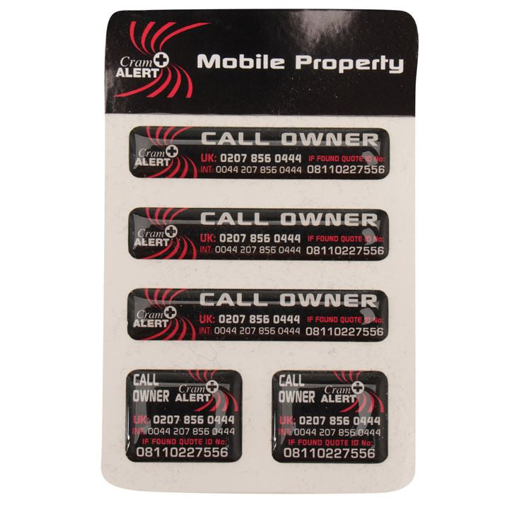 Cram Alert Stickers, Anti Theft, Mobile Property, Cram Alert Stickers, EuropaBay Limited