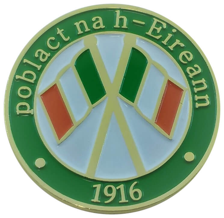 Souvenir, 1916 - 2016 Easter Rising, Poblact na h-Eireann, Flag Pin Badge, Lapel