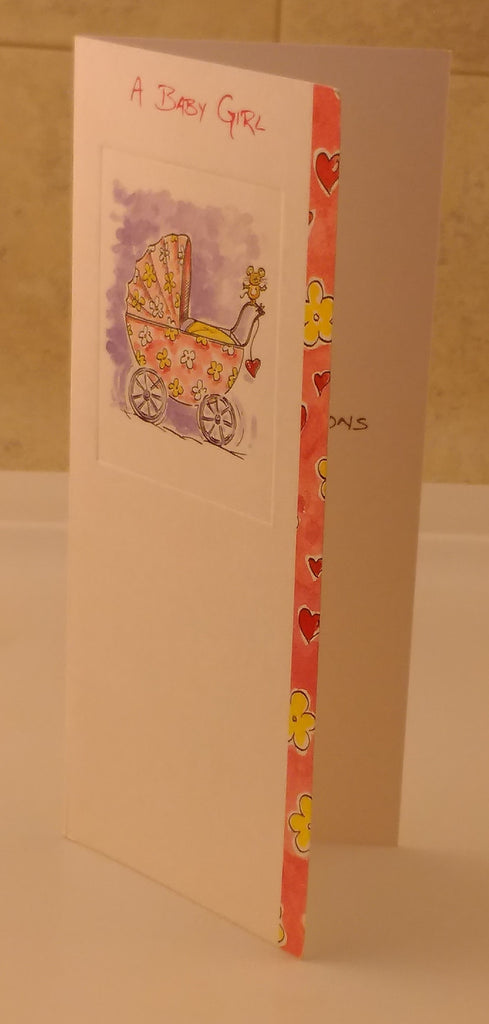 New Born, Baby Girl, Designed by Camden Graphics, Slim Line Style, Greeting Cards & Invitations, EuropaBay Limited